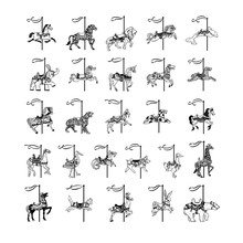 Carousel Animal Collection Set. Vector Illustration.. Collection Set