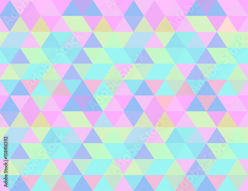 fototapeta na ścianę Holographic seamless pattern background wallpaper, abstract geometric illustration in pastels candy colors shades: blue, pink, yellow, liliac, green.