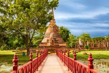 Amazing Bridge To Wat Sa Si (temple) In Sukhothai Historical Park, Thailand. Unesco World Heritage Site