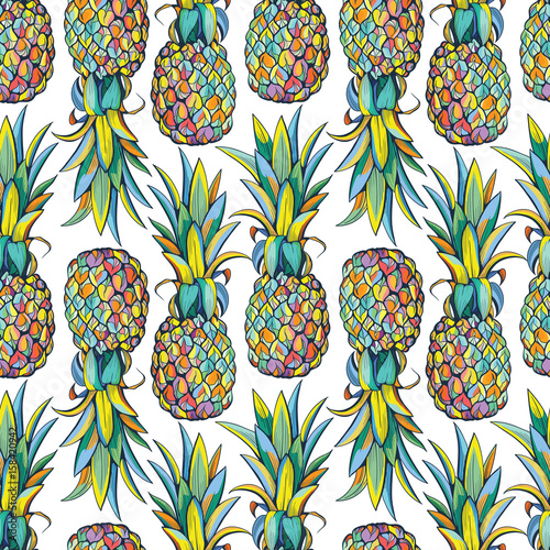 Cotton fabric Pineapples seamless pattern