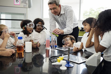 Kindergarten Students Learning In Science Experiment Laboratory Class