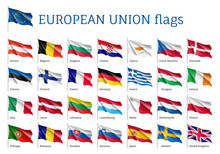 Set Of Waving Flags Of EU: Spa...