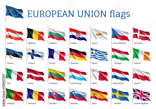 Foto  Set of waving flags of EU: Spain, Sweden, Poland and Portugal, Belgium, Denmark, Latvia and Romania