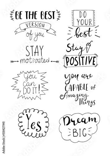 Staande foto Positive Typography Set of hand written motivational phrases