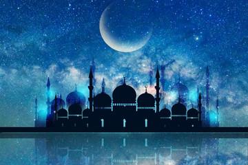 Ramadan Kareem season greeting with mosque and shiny star night
