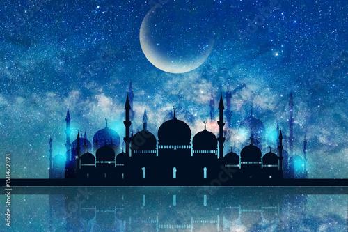 Fototapeta Ramadan Kareem season greeting with mosque and shiny star night obraz