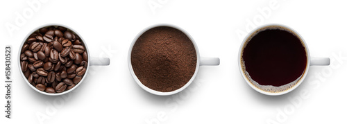 Coffee beans, ground coffee and cup of black coffee - 158430523
