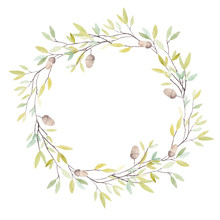 Watercolor Wreath With Oak Acorn And Leaves. Isolated On White Background.