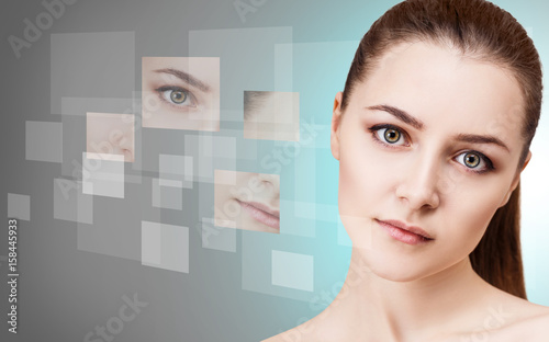 Fototapety, obrazy: Woman's face collected from different parts
