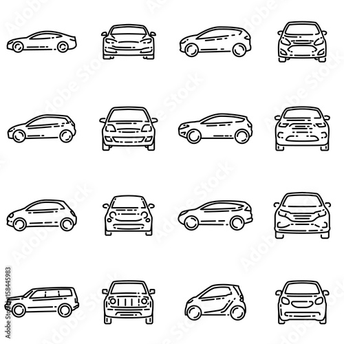 Zestaw różnych samochodów przodu i boku widok wektor zarys ikona.
