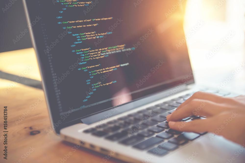 Fototapety, obrazy: Closeup coding on screen, Woman hands coding html and programming on screen laptop, development web, developer.