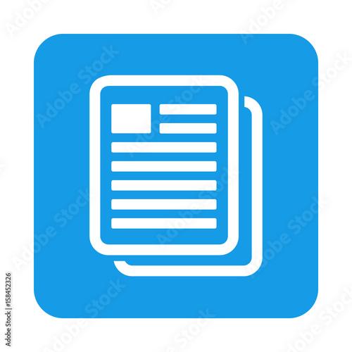Fotografie, Obraz  Icono plano copiar documento en cuadrado azul