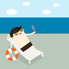 Man Hold Smartphone On Beach S...