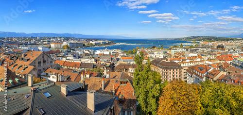 Naples Aerial view of Geneva and the lake, Switzerland. Panorama.