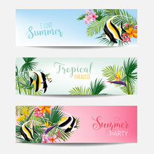 Banner Set Of Tropical Flowers And Exotic Fish, Cards With Text, Beach Flyers In Vector