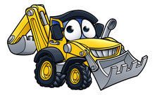 Cartoon Digger Bulldozer Chara...