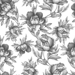 Fototapeta Kwiaty Vintage floral seamless grey monochrome pattern with flowering peonies, on white background. Watercolor hand drawn painting illustration. Isolated. Design for fabric, wrap paper or wallpaper.