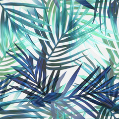 Obraz na Szkle Liście Exotic leaves seamless pattern.