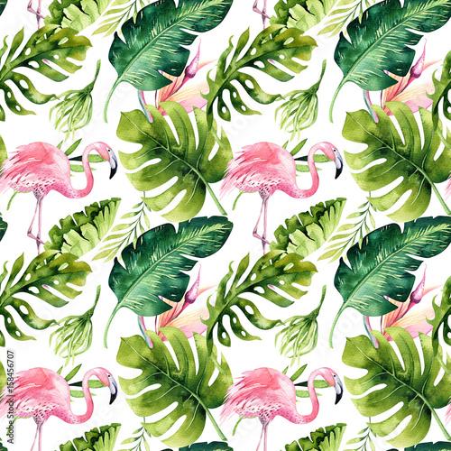 tropikalny-odosobniony-bezszwowy-wzor-z-flamingiem-akwarela-zwrotnikowy-rysunek-roza-ptak-i-greenery