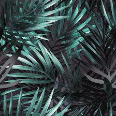 Obraz na SzkleExotic leaves seamless pattern.