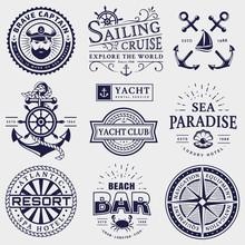 Sea And Nautical Logos Isolate...