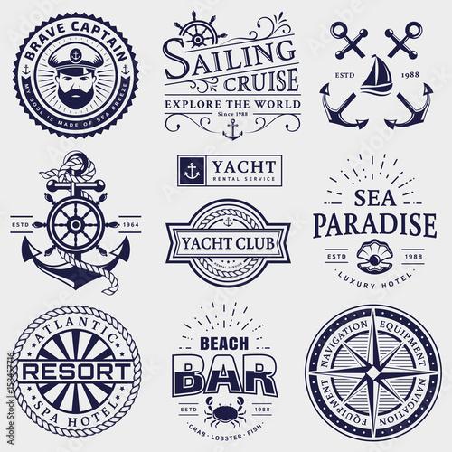 Sea and nautical logos isolated on white background.
