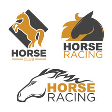 Horse Racing Sport Club Vector Isolated Running Mustang Icons Set