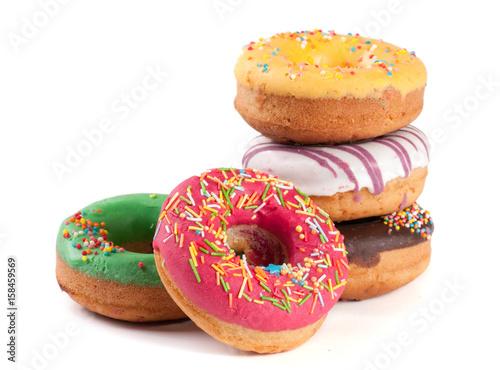 Fototapeta pile of glazed donuts isolated on white background obraz