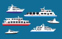 Passenger Sea Cruise Liner Ships, Yachts Marine Transport Boats Vector Flat Icons