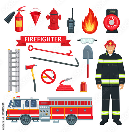 Photo Profession of fireman or firefighter vector tools