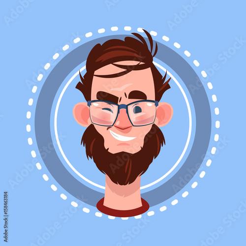 Papiers peints Avion, ballon Profile Icon Male Emotion Avatar, Man Cartoon Portrait Happy Smiling Face Winking Flat Vector Illustration