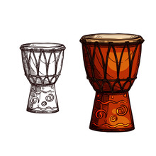 Vector Sketch Icon Of Drum Musical Instrument