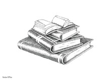 Books Stack Hand Drawing Vintage Style Black And White Line