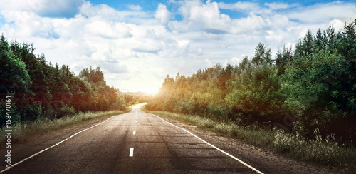 Fotobehang Wit Rural road landscape