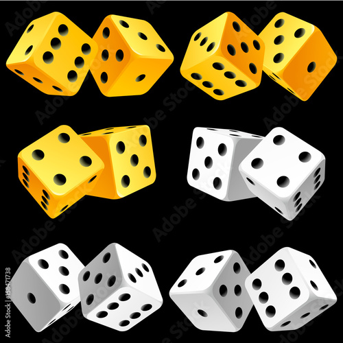 Vector Casino Dice Set Of Authentic Icons Yellow And White Pair Of