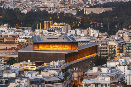 Acropolis museum and view of the city of Athens, Greece. Wallpaper Mural