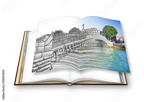 """Photo  The most famous bridge in Dublin called """"Half penny bridge"""" - freehand sketch concept image - 3D render of an opened photo book - I'm the copyright owner of the images used in this 3D render"""
