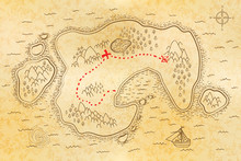 Ancient Pirate Map On Old Pape...