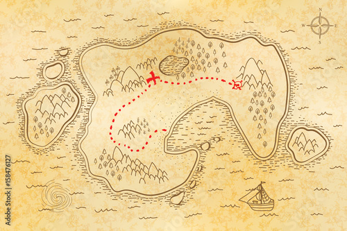Fotografía  Ancient pirate map on old paper with red path to treasure