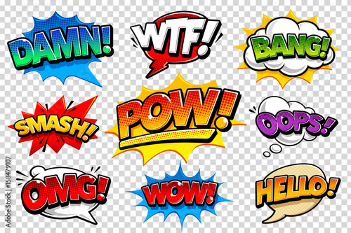 Poster de jardin Pop Art Comic Speech Bubbles