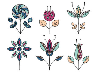 Panel Szklany PodświetlaneSet of vector hand drawn decorative stylized childish flowers. Doodle style, graphic illustration. Ornamental cute hand drawing in pink, blue colors. Series of doodle, cartoon, sketch illustrations.