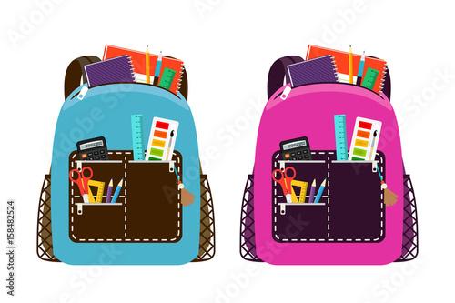 Obraz Blue and pink schoolbags - fototapety do salonu