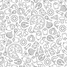Seamless Pattern With Pizza De...