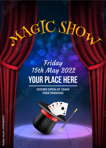 Magic Show Poster Design Template Illusion Magical Vector Background Theater Magician Flyer With Hat