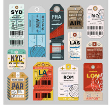 Baggage Tag Set On Grey Backgr...