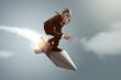 canvas print picture - Mann auf Rakete