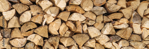 Poster Brandhout textuur Firewood Pile