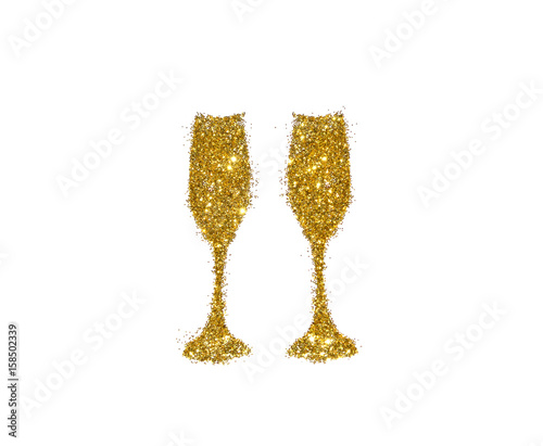 Two glasses of champagne of golden glitter on white background, icon for your design.