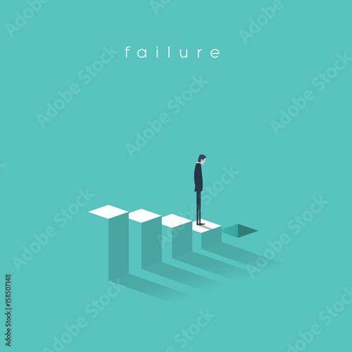 Business failure and bakruptcy vector illustration concept. Businessman on steps leading to stock market crash, crisis, recession, decline