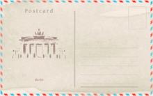 Vintage Postcard. Vector Design. Capitals Of The World. Berlin